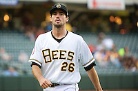 Caleb Clay (26) of the Salt Lake Bees during the game against the Tacoma Rainiers in Pacific Coast League action at Smith's Ballpark on July 9, 2014 in Salt Lake City, Utah.  (Stephen Smith/Four Seam Images)