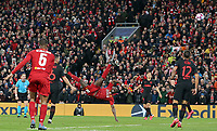 Liverpool's Sadio Mane with an acrobatic effort on goal <br /> <br /> Photographer Rich Linley/CameraSport<br /> <br /> UEFA Champions League Round of 16 Second Leg - Liverpool v Atletico Madrid - Wednesday 11th March 2020 - Anfield - Liverpool<br />  <br /> World Copyright © 2020 CameraSport. All rights reserved. 43 Linden Ave. Countesthorpe. Leicester. England. LE8 5PG - Tel: +44 (0) 116 277 4147 - admin@camerasport.com - www.camerasport.com