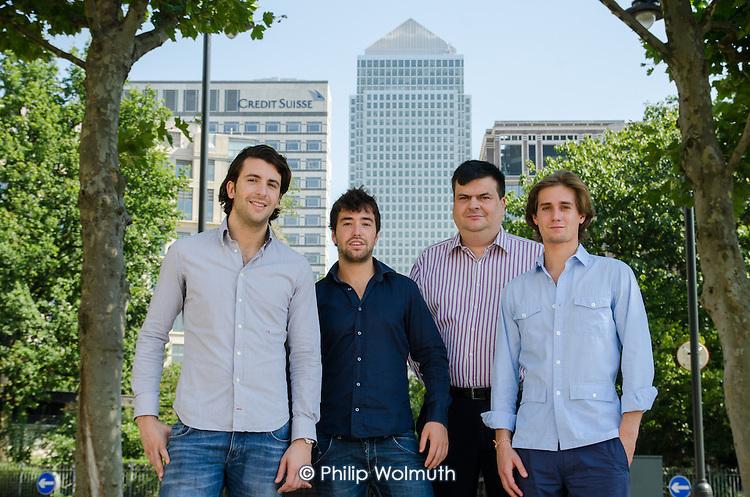 Level39, Canary Wharf: Crowdrooster founders Francesco Gatti, Francesco Fumagalli, Alessandro Rovati.
