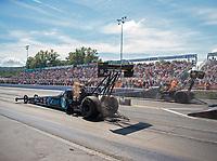 Sep 16, 2018; Mohnton, PA, USA; NHRA top fuel driver Scott Palmer (near) races alongside Tony Schumacher during the Dodge Nationals at Maple Grove Raceway. Mandatory Credit: Mark J. Rebilas-USA TODAY Sports
