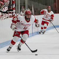 Boston, Massachusetts - February 27, 2016: NCAA Division I, Hockey East quarterfinals (best of three). University of Vermont (green) defeated Boston University (white), 4-2, at Walter Brown Arena. The win tied the best of three series.
