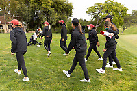 STANFORD, CA - APRIL 25: Malia Nam, Amelia Garvey, Allisen Corpuz, Katie Woodruff, Alyaa Abdulghany, Brianna Navarrosa, Justin Silverstein at Stanford Golf Course on April 25, 2021 in Stanford, California.