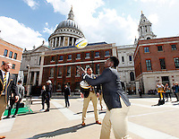 Photo: Richard Lane/Richard Lane Photography. Wasps in the City, Paternoster Square, London. 30/04/2015. Wasps players throw a ball around.