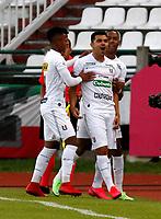 MANIZALES-COLOMBIA, 19–07-2021: Harrison Otalvaro de Once Caldas, celebra el gol anotado a Atletico Huila, durante partido de la fecha 1 entre Once Caldas y Atletico Huila, por la Liga BetPlay DIMAYOR II 2021, jugado en el estadio Palogrande de la ciudad de Manizales. / Harrison Otalvaro of Once Caldas celebrates the scored goal to Atletico Huila, during match of 1st date between Once Caldas and Atletico Huila, for the BetPlay DIMAYOR II 2021 League played at the Palogrande Stadium in Manizales city. / Photo: VizzorImage / JJ Bonilla / Cont.
