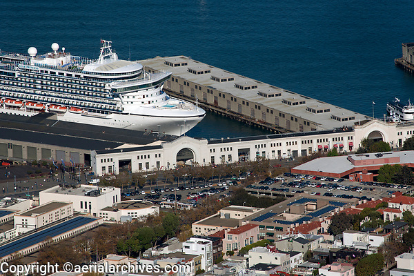 aerial photograph of the Star Princess cruise ship docked at Pier 35, San Francisco, California
