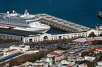 aerial photograph of the Star Princess cruise ship docked at Pier 35, San Francisco, California