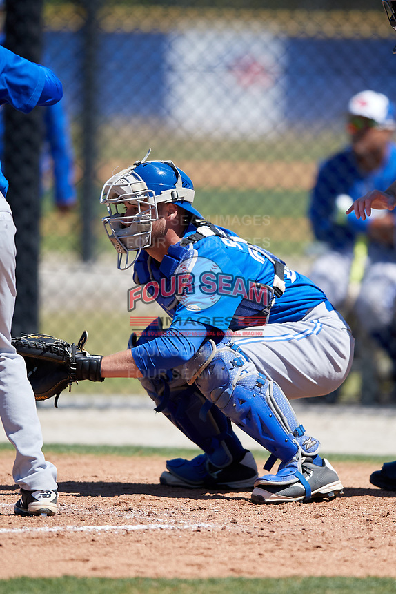 Toronto Blue Jays Owen Spiwak (24) during a Minor League Spring Training Intrasquad game on March 14, 2018 at Englebert Complex in Dunedin, Florida.  (Mike Janes/Four Seam Images)