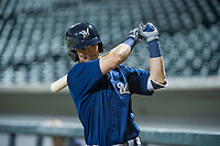 AZL Brewers designated hitter Tristen Lutz (45) in the on-deck circle during a game against the AZL Cubs on August 1, 2017 at Sloan Park in Mesa, Arizona. Brewers defeated the Cubs 5-4. (Zachary Lucy/Four Seam Images)
