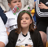 Pictured: Saturday 30 July 2016<br /> Re: Wolverhampton Wanderers v Swansea City FC, pre-season friendly at the Molineux Stadium, England, UK<br /> Swans fan
