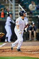Jackson Generals left fielder Kelly Dugan (25) follows through on a swing during a game against the Chattanooga Lookouts on April 27, 2017 at The Ballpark at Jackson in Jackson, Tennessee.  Chattanooga defeated Jackson 5-4.  (Mike Janes/Four Seam Images)