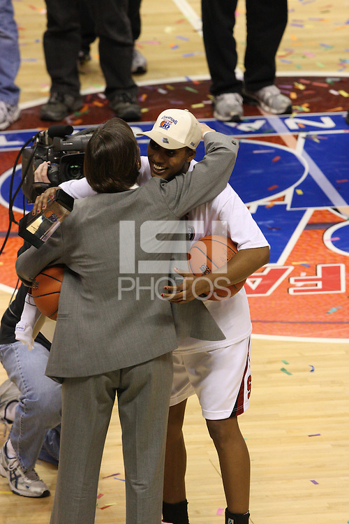 10 March 2008: Stanford Cardinal Candice Wiggins and head coach Tara VanDerveer during Stanford's 56-35 win against the California Golden Bears in the 2008 State Farm Pac-10 Women's Basketball championship game at HP Pavilion in San Jose, CA.
