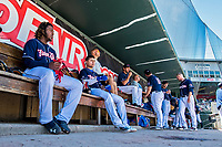 31 May 2018: New Hampshire Fisher Cats third baseman Vladimir Guerrero Jr. sits in the dugout during a game against the Portland Sea Dogs at Northeast Delta Dental Stadium in Manchester, NH. The Sea Dogs defeated the Fisher Cats 12-9 in extra innings. Mandatory Credit: Ed Wolfstein Photo *** RAW (NEF) Image File Available ***