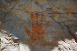 An indian pictograph in the shape of a hand from the cliffs along the Smith River in Montana