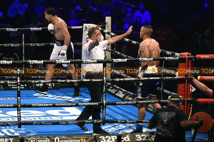 Karol Itauma (white shorts) defeats Tim Ventrella during a Boxing Show at the Royal Albert Hall on 10th July 2021