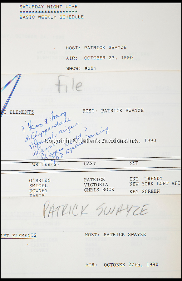 """BNPs.co.uk (01202 558833)<br /> Pic: JuliensAuctions/BNPS<br /> <br /> Patrick Swayze's original script from his guest host appearance on Saturday Night Live is estimated at £638.<br /> <br /> The iconic leather jacket worn by Patrick Swayze as he delivers the famous line """"Nobody puts Baby in a corner"""" is up for grabs.<br /> <br /> The notable piece of clothing from the 1987 classic Dirty Dancing has been given a conservative estimate of less than £5,000 but auctioneer Darren Julien says the """"Holy Grail"""" of Swayze memorabilia could fetch more than six times that.<br /> <br /> The surfboard from Point Break (1991) and Swayze's shirt from Ghost (1990) are also among the key lots being sold by his wife of 34 years, Lisa Niemi.<br /> <br /> The Hollywood items being sold by Julien's in Los Angeles, following the star's death from pancreatic cancer in 2009, offer film fans the chance to own a piece of pop culture history.<br /> <br /> The memorabilia will be sold in Los Angeles on April 28 and 29."""