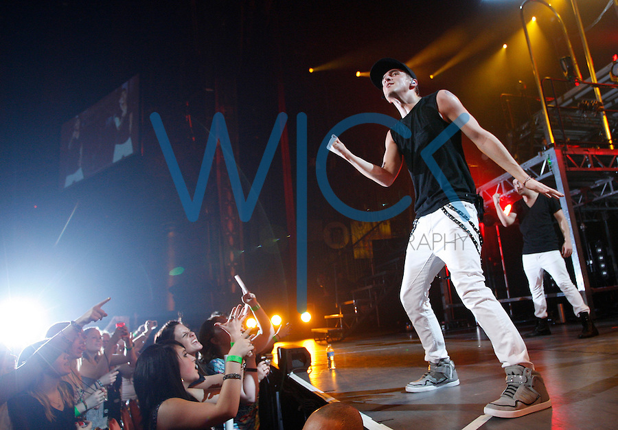 Big Time Rush (Carlos Pena, James Maslow, Kendall Schmidt, Logan Henderson) perform during their show at the Fox Theater in Detroit, Michigan as part of their Better With U 2012 winter tour on Sunday February 25, 2012. (Jared Wickerham/GETTY IMAGES FOR NICKELODEON)