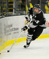 30 December 2007: Western Michigan University Broncos' left wing forward Jeff LoVecchio, a Junior from Chesterfield, MO, in action against the Holy Cross Crusaders at Gutterson Fieldhouse in Burlington, Vermont. The teams skated to a 1-1 tie, however the Broncos took the consolation game in a 2-0 shootout to win the third game of the Sheraton/TD Banknorth Catamount Cup Tournament...Mandatory Photo Credit: Ed Wolfstein Photo