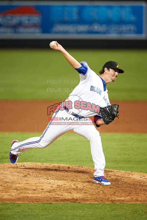 Salt River Rafters pitcher Deck McGuire #33, of the Toronto Blue Jays organization, during an Arizona Fall League game against the Mesa Solar Sox at Salt River Fields at Talking Stick on October 9, 2012 in Scottsdale, Arizona.  Salt River defeated Mesa 6-5.  (Mike Janes/Four Seam Images)