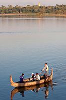 Myanmar, Burma, Mandalay.  Taungthaman Lake.  Two Burmese Landies Emjoying an Afternoon on the Lake.