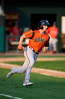 Bowie Baysox Jordan Westburg (27) runs to first base during a game against the Harrisburg Senators on September 8, 2021 at FNB Field in Harrisburg, Pennsylvania.  (Mike Janes/Four Seam Images)