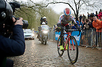 Luca Paolini (ITA/Katusha) on the cobbles of the Kemmelberg<br /> <br /> 77th Gent-Wevelgem 2015