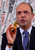 "Il Ministro dell'Interno e Vicepresidente del Consiglio Angelino Alfano tiene una conferenza stampa per annunciare la nascita del gruppo parlamentare del Nuovo Centrodestra, alla Stampa Estera, Roma, 16 novembre 2013.<br /> Interior Minister and Deputy Premier Angelino Alfano attends a press conference to announce the foundation of the ""New Center-Right"" parliamentary group at the Foreign Press Association, Rome, 16 November 2013.<br /> UPDATE IMAGES PRESS/Isabella Bonotto"