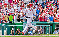 30 August 2015: Washington Nationals outfielder Jayson Werth comes home to score in the 5th inning against the Miami Marlins at Nationals Park in Washington, DC. The Nationals rallied to defeat the Marlins 7-4 in the third game of their 3-game weekend series. Mandatory Credit: Ed Wolfstein Photo *** RAW (NEF) Image File Available ***