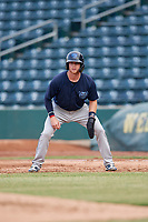 Mobile BayBears Connor Justus (7) leads off first base during a Southern League game against the Jacksonville Jumbo Shrimp on May 28, 2019 at Baseball Grounds of Jacksonville in Jacksonville, Florida.  Mobile defeated Jacksonville 2-1.  (Mike Janes/Four Seam Images)