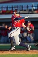 Jordan Edgerton (18) of the Danville Braves follows through on his swing against the Burlington Royals at Burlington Athletic Park on July 5, 2014 in Burlington, North Carolina.  The Royals defeated the Braves 5-4.  (Brian Westerholt/Four Seam Images)
