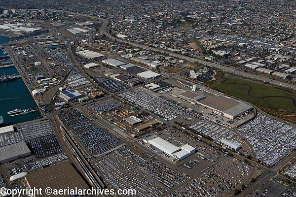aerial photograph of parked automobiles, National City, San Diego County, California