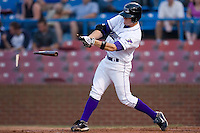 Tyler Kuhn #4 of the Winston-Salem Dash has his bat shatter as he makes contact with the baseball at Wake Forest Baseball Stadium August 8, 2009 in Winston-Salem, North Carolina. (Photo by Brian Westerholt / Four Seam Images)
