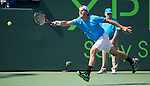Tommy Haas (GER) loses to David Ferrer, 4-6, 6-2, 6-3 at the Sony Open being played at Tennis Center at Crandon Park in Miami, Key Biscayne, Florida on March 29, 2013
