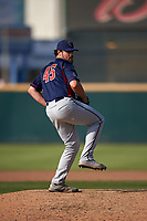 Lancaster JetHawks relief pitcher Ben Bowden (45) delivers a pitch during a California League game against the Inland Empire 66ers at San Manuel Stadium on May 20, 2018 in San Bernardino, California. Inland Empire defeated Lancaster 12-2. (Zachary Lucy/Four Seam Images)
