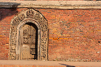 Nepal, Patan.  Doorway into Royal Palace Compound, Durbar Square.