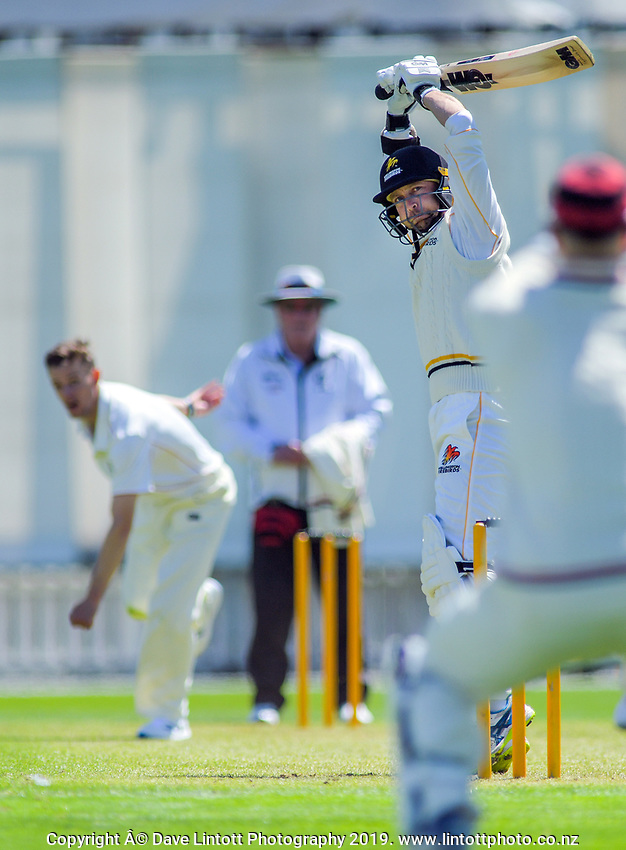 Devon Conway lets a delivery go during day one of the Plunket Shield cricket match between the Wellington Firebirds and Canterbury at Basin Reserve in Wellington, New Zealand on Tuesday, 29 October 2019. Photo: Dave Lintott / lintottphoto.co.nz