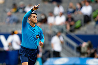 CARSON, CA - APRIL 25: Referee Victor Rivas giving directions during a game between New York Red Bulls and Los Angeles Galaxy at Dignity Health Sports Park on April 25, 2021 in Carson, California.