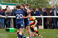 TRY - Miles Mantella of London Scottish scores during the Greene King IPA Championship match between London Scottish Football Club and Richmond at Richmond Athletic Ground, Richmond, United Kingdom on 27 April 2019. Photo by Carlton Myrie.