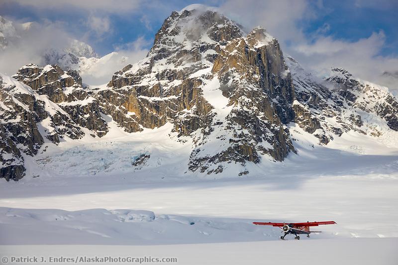 Bush plane on the ruth glacier, Alaska mountain range, Interior, Alaska.