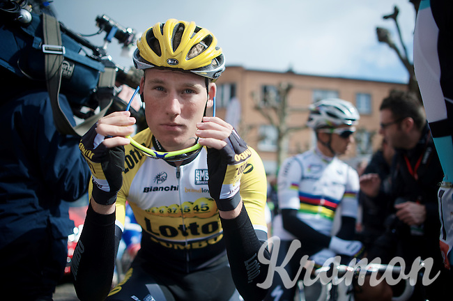Mike Teunissen (NLD/LottoNL-Jumbo) at the start (with the World Champion behind him)<br /> <br /> 79th Flèche Wallonne 2015