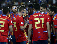 Football: Uefa under 21 Championship 2019 Final, Spain - Germany Dacia Arena, Udine Italy on June 30, 2019.<br /> Spanish Dani Olmo (second from left) kisses the trophy after winning the Uefa under 21 Championship 2019 at the Dacia Arena in Udine, Italy on June 30, 2019.<br /> UPDATE IMAGES PRESS/Isabella Bonotto