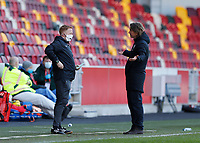 17th April 2021; Brentford Community Stadium, London, England; English Football League Championship Football, Brentford FC versus Millwall; Brentford Manager Thomas Frank questions the fourth official  on the touchline