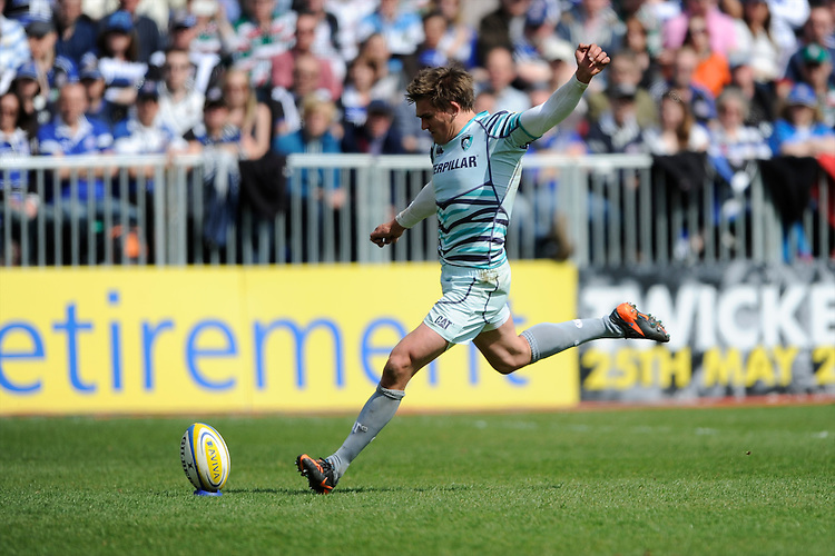 Toby Flood of Leicester Tigers takes a conversion attempt during the Aviva Premiership match between Bath Rugby and Leicester Tigers at The Recreation Ground on Saturday 20th April 2013 (Photo by Rob Munro)