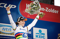 race winner: World Champion Marianne Vos (NLD/Rabo-Liv) on the podium <br /> <br /> Zolder CX UCI World Cup 2014