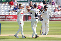 Simon Harmer of Essex celebrates with his team mates after taking the wicket of Chris Dent during Essex CCC vs Gloucestershire CCC, LV Insurance County Championship Division 2 Cricket at The Cloudfm County Ground on 7th September 2021