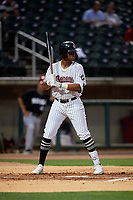 Birmingham Barons Ti'Quan Forbes (10) at bat during a Southern League game against the Chattanooga Lookouts on May 1, 2019 at Regions Field in Birmingham, Alabama.  Chattanooga defeated Birmingham 5-0.  (Mike Janes/Four Seam Images)