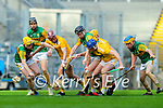 Brendan O'Leary, Kerry in action against Keelan Molloy, Antrim during the Joe McDonagh Cup Final match between Kerry and Antrim at Croke Park in Dublin.