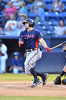 Rome Braves Shea Langeliers (4) swings at a pitch during a game against the Asheville Tourists  at McCormick Field on July 19, 2019 in Asheville, North Carolina. The Braves defeated the Tourists 4-1. (Tony Farlow/Four Seam Images)