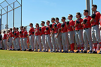Illinois State Redbirds players stand for the national anthem before a game against the Northwestern Wildcats on March 6, 2016 at North Charlotte Regional Park in Port Charlotte, Florida.  From left Daniel Dwyer (32), Jack Czeszewski (25), Nick Zouras (14), Jacob Hendren (35), Jared Hendren (19), Sean Beesley (29), Joe Kelch (3), Brian Rodemoyer (30), Owen Miller (8), Blake Molitor (42), Danny Jackson (39), Nick Kowalczuk (23), Steve Heilenbach (10), Marcus McKinney (17), Jack Landwehr (18), Rhett Rapshus (28), Jeffrey Barton (31), Tyler Paulsen (43).  Illinois State defeated Northwestern 10-4.  (Mike Janes/Four Seam Images)