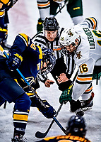 26 January 2019: With linesman Michael Wrobel holding the puck, University of Vermont Catamount Forward Derek Lodermeier, a Junior from Brooklyn Center, MN, faces off against Merrimack College Warrior Forward Derek Petti, a Senior from Tewksbury, MA, at Gutterson Fieldhouse in Burlington, Vermont. The Catamounts defeated the Warriors 4-3 in overtime to take both games of their weekend America East conference series. Mandatory Credit: Ed Wolfstein Photo *** RAW (NEF) Image File Available ***