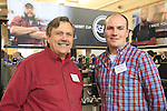 Hub and headset hero Chris King with Tom Oborne proudly displays his products at BESPOKED UK Handmade Bicycle Show 2015 held in the Brunel Engine Shed at Temple Meads Station and the Arnolfini Centre in Bristol, England. 18th April 2015.<br /> Photo: Eoin Clarke www.newsfile.ie